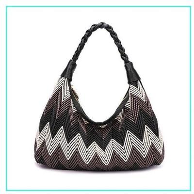 【新品】Women Hobo handbags fashion purses designer hand woven shoulder bag large capacity tote bags PU Leather (black)(並行輸入品)