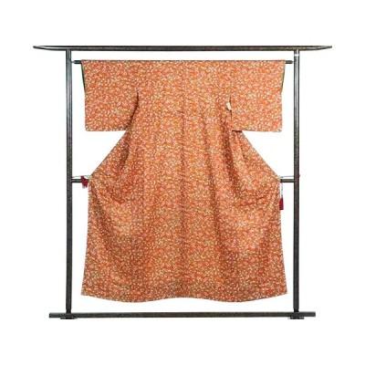 リサイクル着物 小紋 正絹赤茶地袷小紋着物