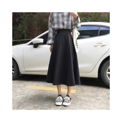 ミモレスカート レディース ロング フレアスカート 無地 シンプル ウエストゴム フェミニン カジュアル Good Clothes