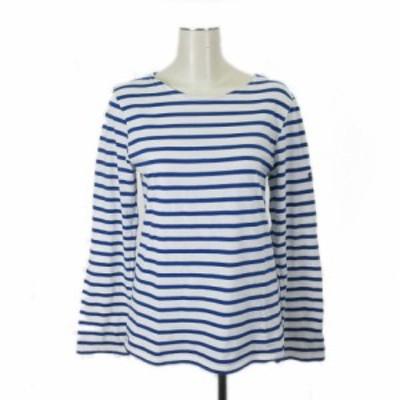 【中古】セントジェームス SAINT JAMES フランス製 カットソー Tシャツ 長袖 ボーダー コットン ブルー系 S