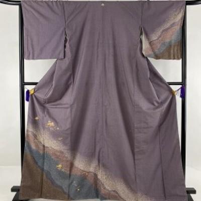 訪問着 美品 秀品 紬地 一つ紋 傘松 吹寄せ 金糸 螺鈿 紫 袷 166cm 64cm M 正絹 中古
