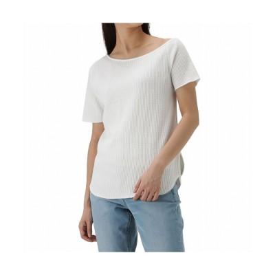 (MAC HOUSE(women)/マックハウス レディース)NAVY ネイビー アシメワッフルTシャツ NVCS0003/レディース ホワイト