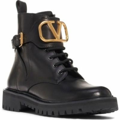 ヴァレンティノ VALENTINO GARAVANI レディース ブーツ コンバットブーツ シューズ・靴 V-Logo Buckle Combat Boot Black