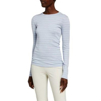 ヴィンス レディース Tシャツ トップス Chalk Stripe Long-Sleeve Crewneck T-Shirt