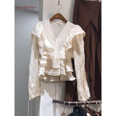 ローズマリー  韓国ファッション🌸 八月 新品販売 フリルVネックのスウィートフィットのシャツ  長袖シャツ  トップス   ベーシック  大人気   可愛い  2008095
