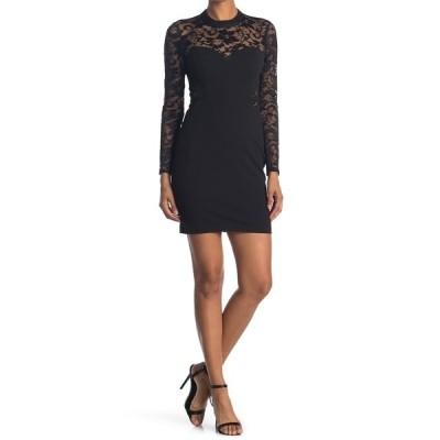 ゲス レディース ワンピース トップス Sheer Lace Sleeve Bodycon Dress BLACK