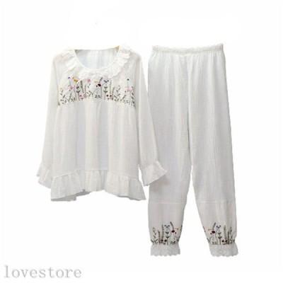レディース パジャマ 家着 春向き コットン 綿100 長袖 長ズボン 上下セット 薄手 通気 吸湿 肌に優しい ふんわり 花柄 刺繍 姫