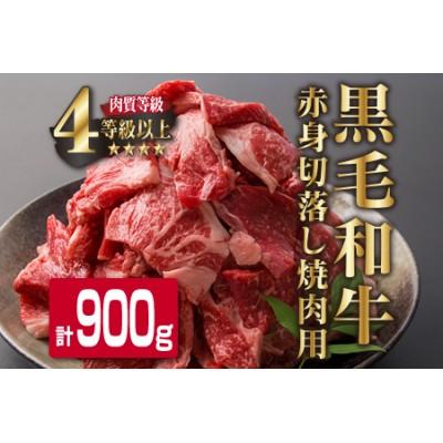 D29-191 4等級以上!!県産黒毛和牛赤身切落し焼肉用(計900g)