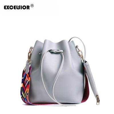 エクセルシオール Pu レザー女性のハンドバッグ 新ファッショナブルなバケットバッグ メッセンジャーバッグ カラフルなストラップ