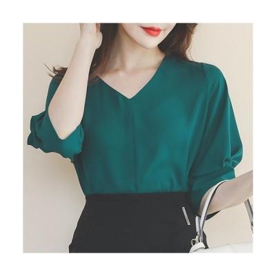 ブラウス レディース 春夏 40代 50代 フォーマル ファッション 女性 上品 プルオーバー Vネック 無地 半袖 きれいめ 通勤