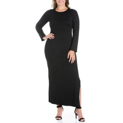 24セブンコンフォート ワンピース トップス レディース Women's Plus Size Side Slit Fitted Maxi Dress Black
