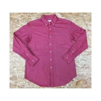 BLUE WORK ブルーワーク サイズ2 メンズ オックスフォードシャツ 肩幅約44cm 長袖 ポケット付き 無地 B.D. ボタンダウン レッド系 赤系