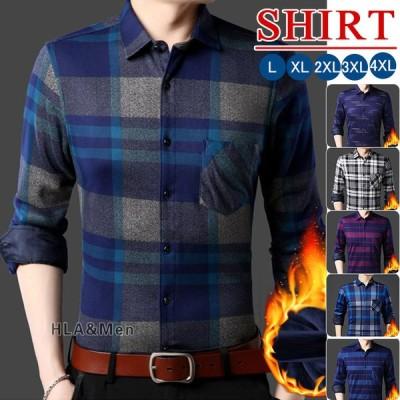 チェックシャツ メンズ 40代 50代 長袖シャツ 裏起毛 カジュアルシャツ シャツ トップス 秋冬 あったか 父の日 2021