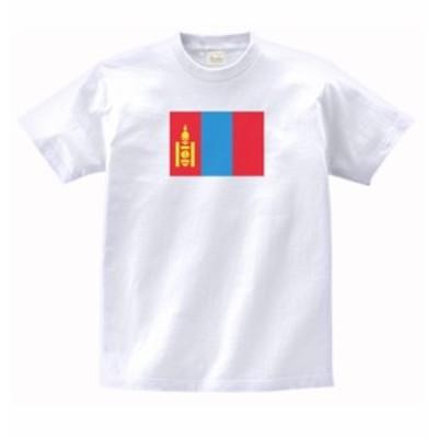 国 国旗 Tシャツ モンゴル 白