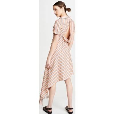 モンス Monse レディース ワンピース ワンピース・ドレス Stripe Open Back Deconstructed Dress Persimmon Multi