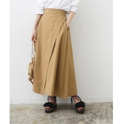 スカート ラップ風イレギュラーヘムロングスカート