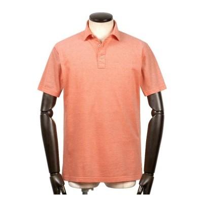 【SALE】ルイジボレッリ ルイジボレリ LUIGI BORRELLI / 製品洗いコットンシャンブレー鹿の子ワイドカラー半袖ポロシャツ「PL500」(オレンジ)