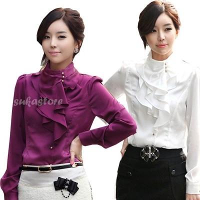 レディース 長袖 スプリング ブラウス サテン フリル シャツエレガント 通勤 OL 韓国ファッション 大きいサイズ オシャレ4色