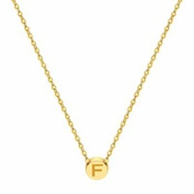 18K Real Gold Plated Tiny Dot Initial Necklace- Personalized Circle Letter Pendant Stainless Steel Chain Choker Round Disc Charm