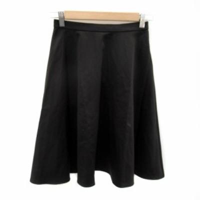 【中古】デンドロビウム DENDROBIUM スカート フレア ミモレ丈 無地 38 黒 ブラック /SY10 レディース