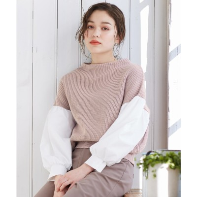 Feroux 【洗える】シャツコンビ ニット (ピンク系)