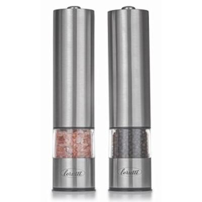 電気塩コショウグラインダーセット  電池式ステンレススチールグラインダー 2個パック