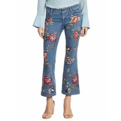 アリス+オリビア レディース パンツ デニム Ryley Embroidered Cropped Flare Jeans