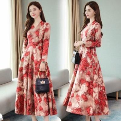 女性秋冬ロングドレスVネック印刷花スリムウエスト長袖ドレス