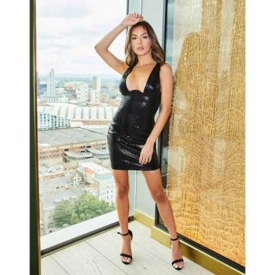 セイントジーニーズ Saint Genies レディース ワンピース ワンピース・ドレス Croc Effect Leather Look Plunge Dress In Black ブラック