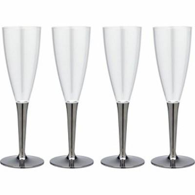 ストリックスデザイン 軽くて割れにくい プラスチック シャンパンカップ シルバー(4コ入)[紙コップ]