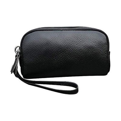 Easeu Women's Genuine Leather Wristlet Multi Zipper Pockets Wallet Organizer Bag, Black, Small【並行輸入品】