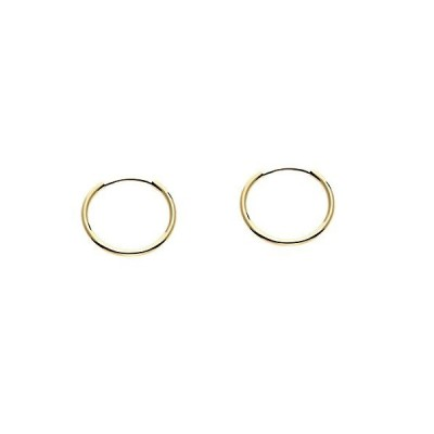 14k Yellow Gold Round Small Thin Continuous Endless Hoop Earrings, 12mm【並行輸入品】