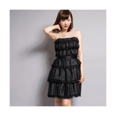 【SALE 40%OFF】ソフトオーガンジーワンピース(ブラック)【VANILLA CoUTURE】DOUBLE STANDARD CLOTHING(ダブスタ)