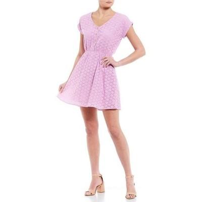 カッパーキー レディース ワンピース トップス Button Front Short Sleeve Eyelet Dress