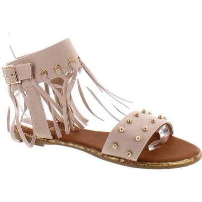 レディース 靴 サンダル Yoki Acacia-47 Micro Fabric Women's Flat Sandal With Studs & Fringe