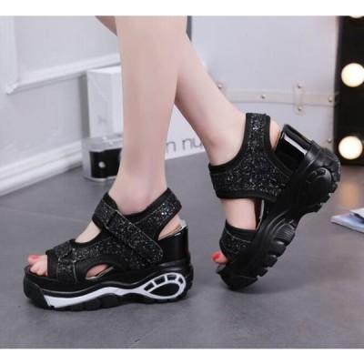 サンダル レディース インヒール 厚底サンダル 10cm コンフォートサンダル 歩きやすい 痛くない 走れる 厚底 フラットサンダル