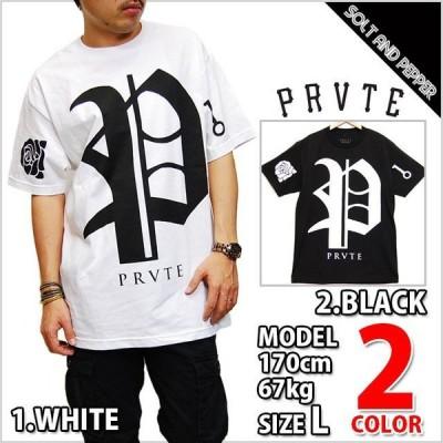 PRVTE LABEL プライベート レーベル PL TEE LOGO PRINT T-SHIRTS BLACK WHITE P L ロゴ プリント Tシャツ 半袖 トップス クルーネック Uネック ブラック ホワイ