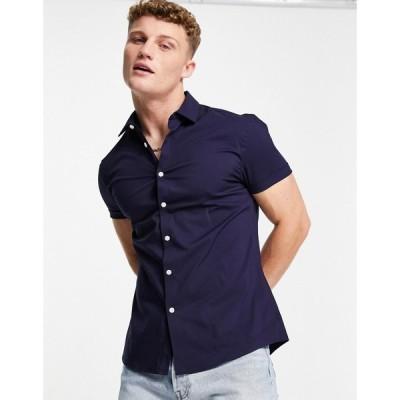 エイソス ASOS DESIGN メンズ シャツ スリム トップス Asos Design Stretch Slim Shirt In Navy ネイビー
