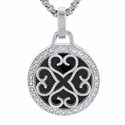 Amorucci 925 Sterling Silver Cubic Zirconia Round Shaped Stylish Black & Silver Pendant with Chain for Women (19.3 mm)