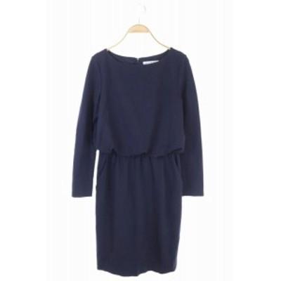 【中古】エムプルミエ ブラック M-Premier BLACK WAIST RUBBER DRESS ドレス ワンピース 長袖 ロング 38 紺 /AO ■OS