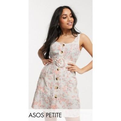 エイソス ASOS Petite レディース ワンピース サンドレス ASOS DESIGN Petite button through linen mini sundress with self covered belt in floral print