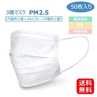 【毎日発送可能】【在庫あり】不織布マスク 50枚入り レギュラーサイズマスク mask002