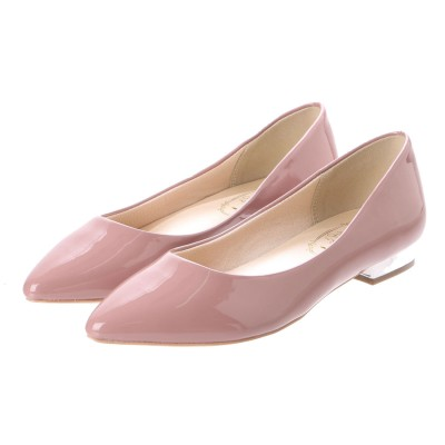 Simple Style 【Import】シルバーヒール エナメルポインテッドトゥパンプス (ライトピンク)