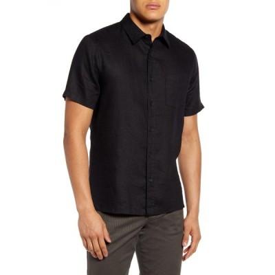 ヴィンス メンズ シャツ トップス Linen Regular Fit Button Down Shirt BLACK