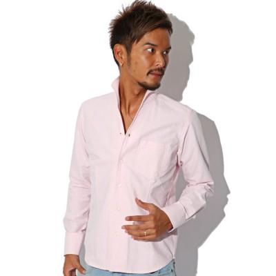 【ラグスタイル】 BITTER シャツ メンズ イタリアンカラートップス 長袖 白 ホワイト 白シャツ オックスフォード カジュアルシャ メンズ ピンク M LUXSTYLE
