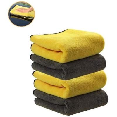 洗車タオル 吸水 速幹 ふんわりタッチ 厚手タイプ 毛羽立ちのない 珊瑚の絨 マイクロファイバークロス (4枚)