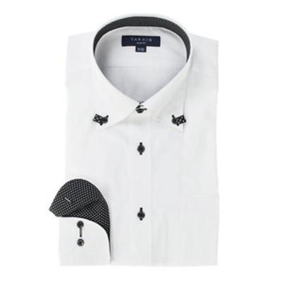 形態安定スリムフィット ドゥエボットーニループテープ長袖ビジネスドレスシャツ/ワイシャツ