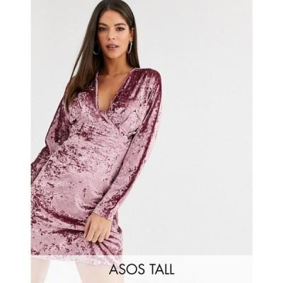 エイソス ASOS Tall レディース ワンピース ミニ丈 ワンピース・ドレス asos design tall long sleeve plunge velvet mini dress ダークピンク