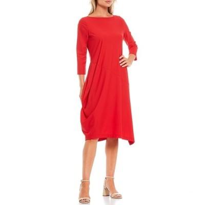 アイシーコレクション レディース ワンピース トップス 3/4 Sleeve Asymmetric Midi Dress Red