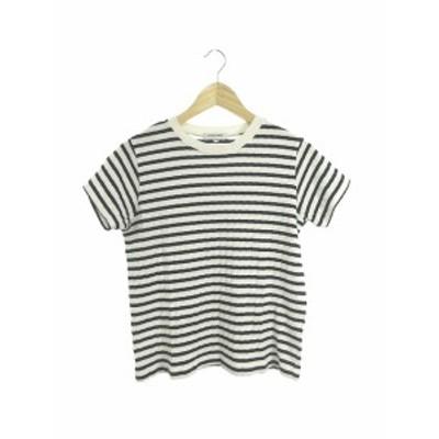 【中古】グローバルワーク GLOBAL WORK Tシャツ カットソー ニット クルーネック 総柄 半袖 M 白 ホワイト /M3O レディース